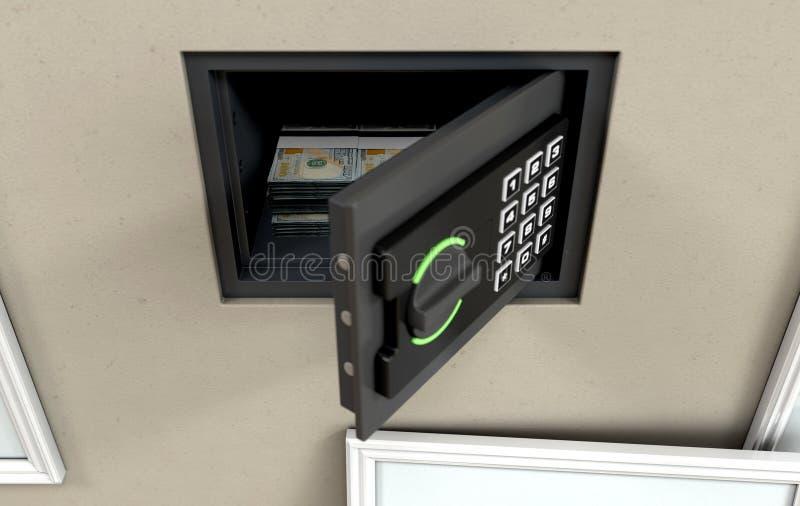 Cassaforte e banconote aperte della parete royalty illustrazione gratis