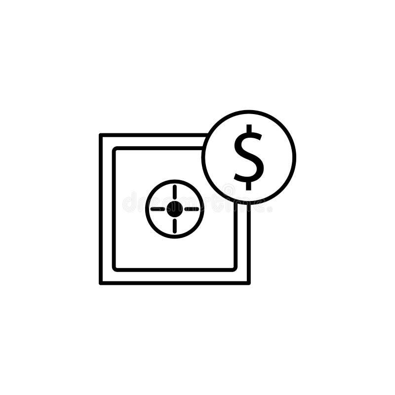 Cassaforte, icona del dollaro Elemento dell'illustrazione di finanza I segni e l'icona di simboli possono essere usati per il web illustrazione vettoriale