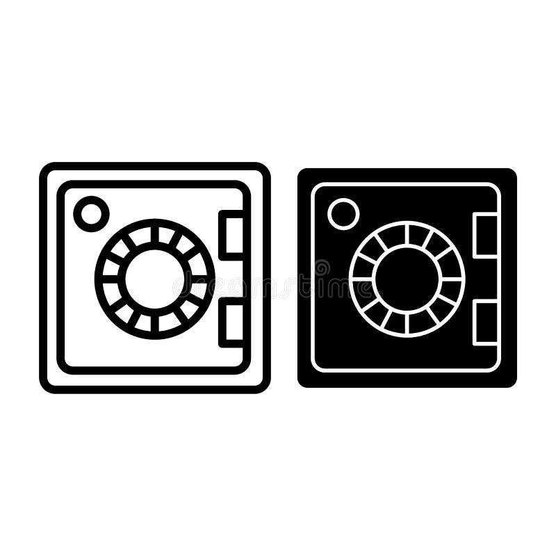 Cassaforte per la linea dei soldi e l'icona di glifo Illustrazione di vettore della cassaforte isolata su bianco Progettazione si illustrazione vettoriale