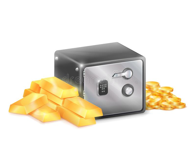 Cassaforte sicura del metallo con le barre di oro dorate delle monete illustrazione di stock