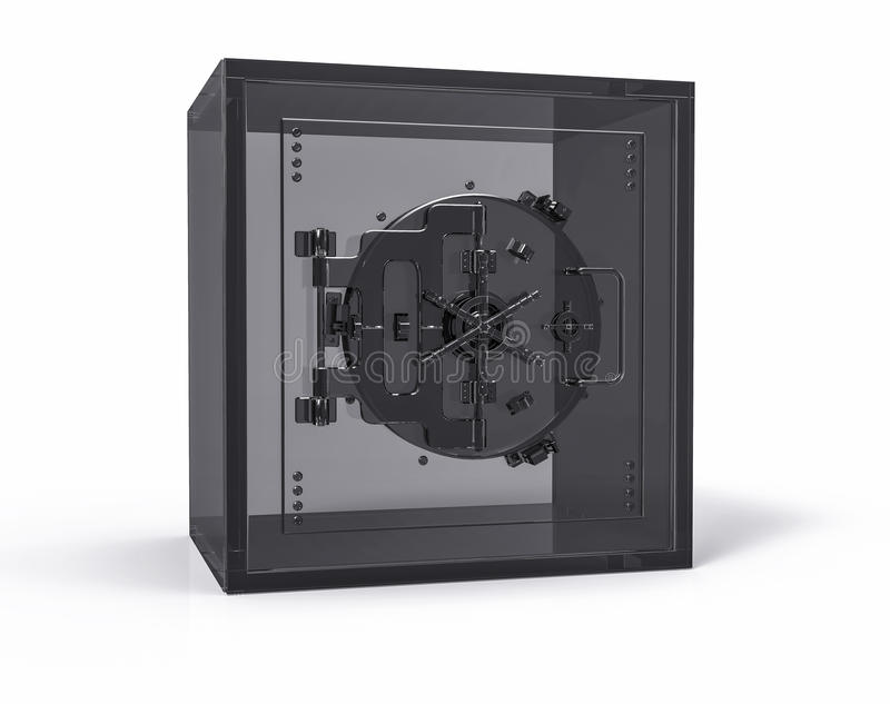 cassaforte sicura trasparente isolata 3D Affare di sicurezza chiuso illustrazione vettoriale