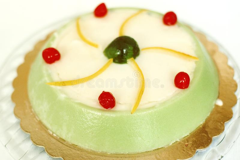 Cassata siciliana cake - traditional italian sweet with ricotta and candied fruit royalty free stock photography