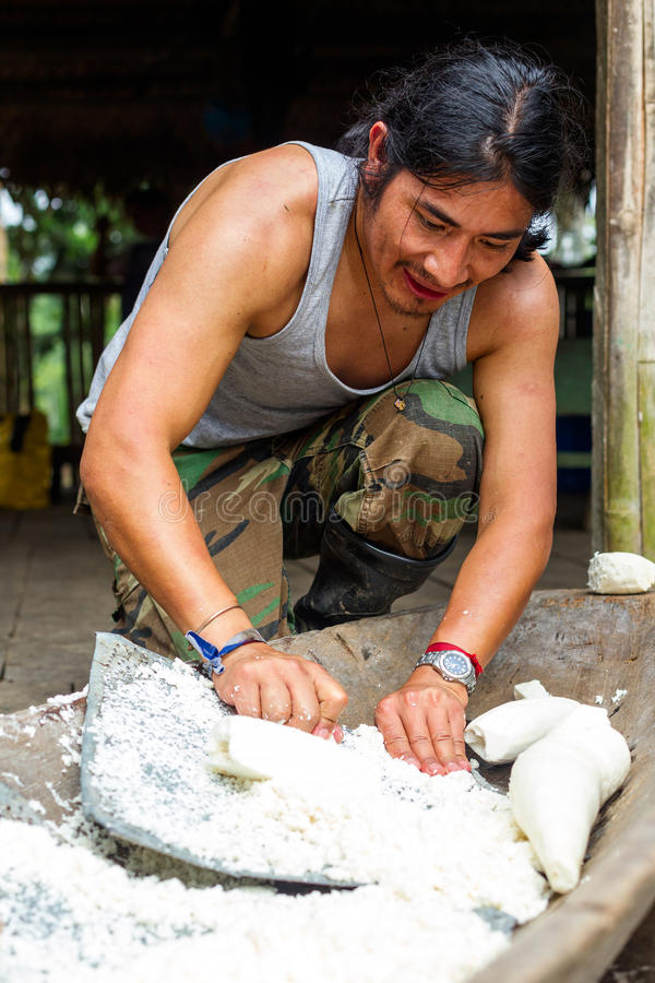 Cassava Preparation By Indigenous Adult Man stock photography