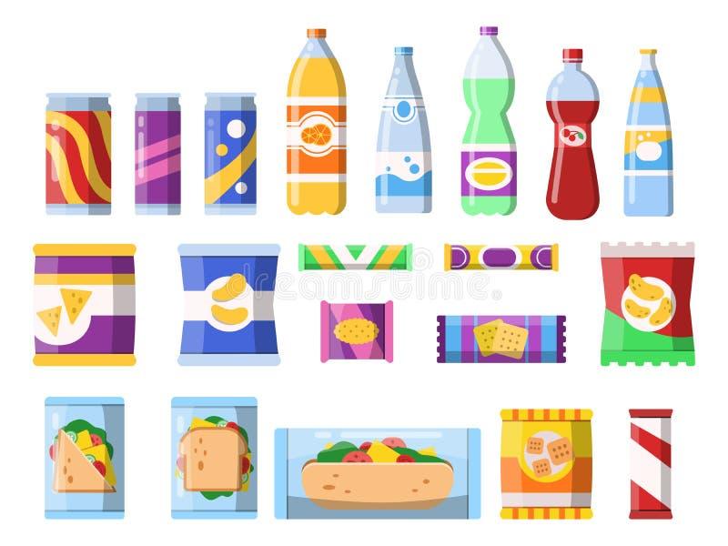 Casse-croûte et boissons Les produits de vente des récipients en plastique d'aliments de préparation rapide arrosent le vecteur d illustration libre de droits