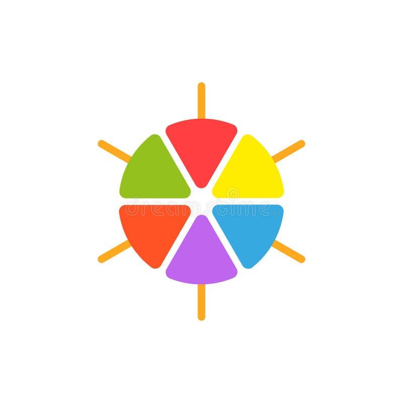 Casse-croûte surgelé de glaces à l'eau de logo sur un bâton, bruit coloré de glace des secteurs, conception ronde de logotype de  illustration stock