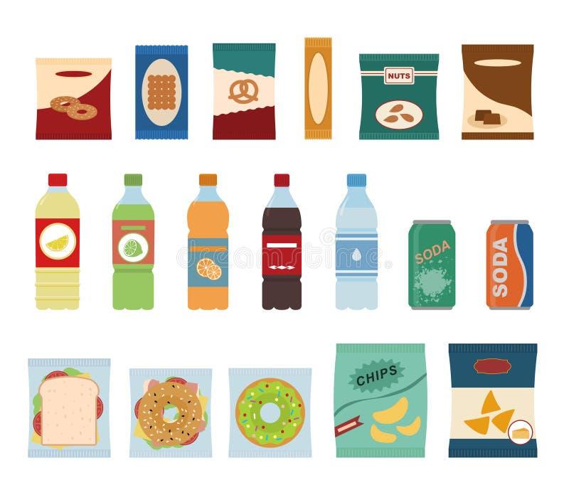 Casse-croûte d'aliments de préparation rapide et icônes plates de boissons illustration de vecteur