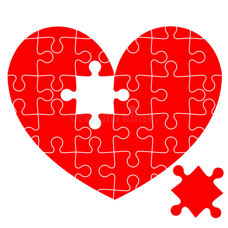 Casse-tête au coeur rouge illustration stock