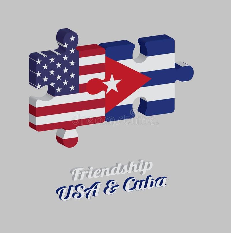 Casse-tête 3D de drapeau de l'Amérique et de drapeau du Cuba avec le texte : Amitié Etats-Unis et Cuba Concept d'amical illustration de vecteur