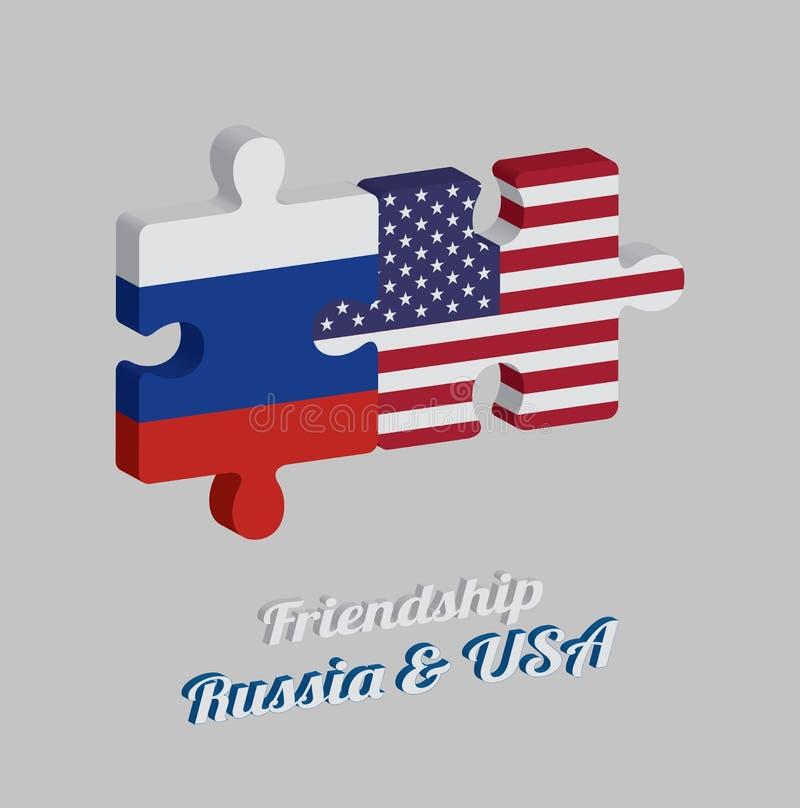 Casse-tête 3D, de drapeau de la Russie et de drapeau de l'Amérique avec le texte : Amitié Russie et Etats-Unis Concept d'amical illustration de vecteur