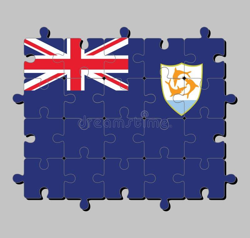 Casse-tête de drapeau d'Anguilla dans le drapeau bleu avec le drapeau britannique et le manteau des bras d'Anguilla dans la mouch illustration stock
