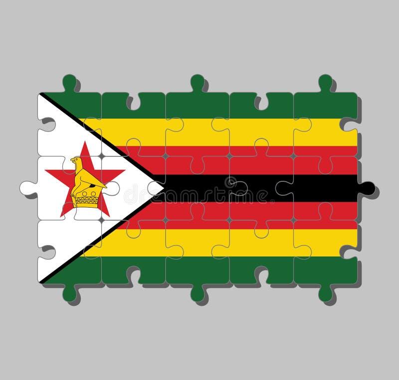 Casse-tête de drapeau du Zimbabwe dans sept rayures horizontales de noir rouge jaune vert avec un blanc noir-bordé avec un oiseau illustration libre de droits