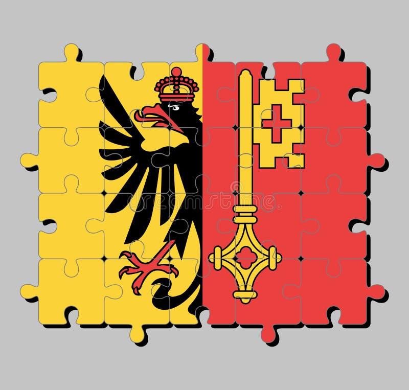 Casse-tête de drapeau de Genève Le canton de la confédération de la Suisse illustration de vecteur
