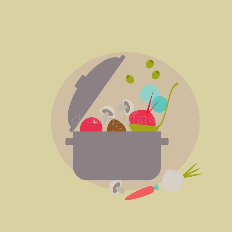 Casserole avec des légumes illustration de vecteur