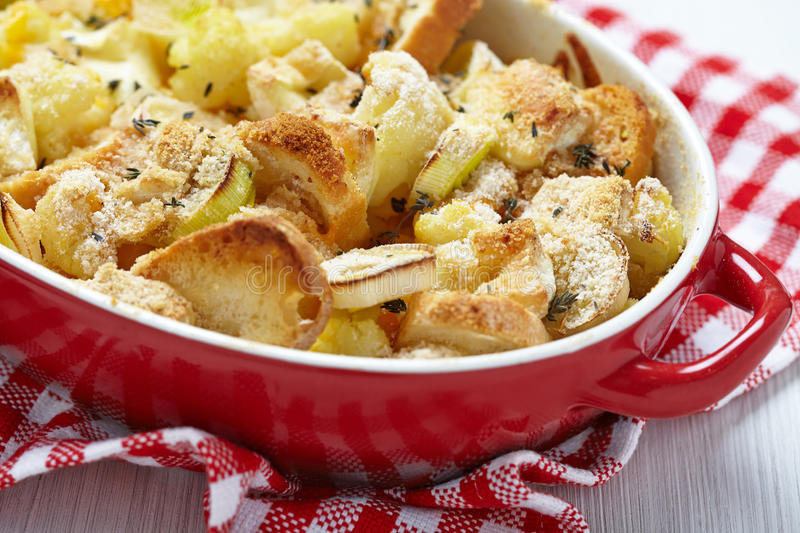 Casserole with cauliflower, leek, bread and cheese. See my other works in portfolio royalty free stock photos