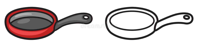 Casserole colorée et noire et blanche pour livre de coloriage illustration stock