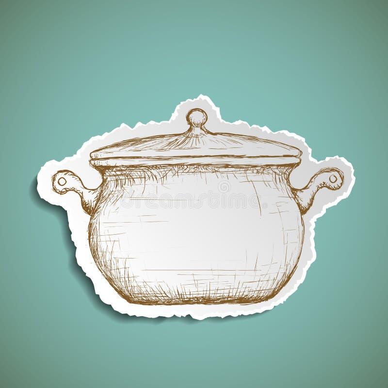 Casserole d'icône pour la cuisson Image de griffonnage de la vaisselle de cuisine illustration de vecteur