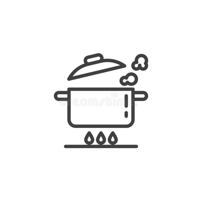 Casserole de ébullition sur la ligne icône de cuisinière à gaz illustration de vecteur