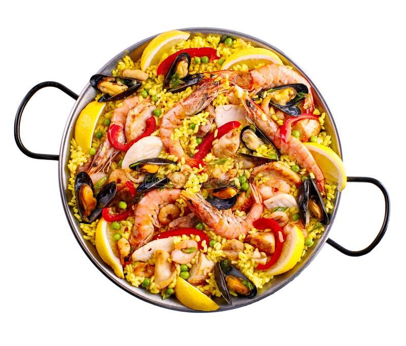 Casserole de margarita de Paella au-dessus de blanc photographie stock libre de droits