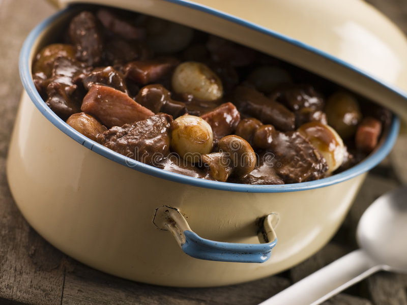 Download Casserole Dish With Beef Bourguignonne Stock Photo - Image: 5619486