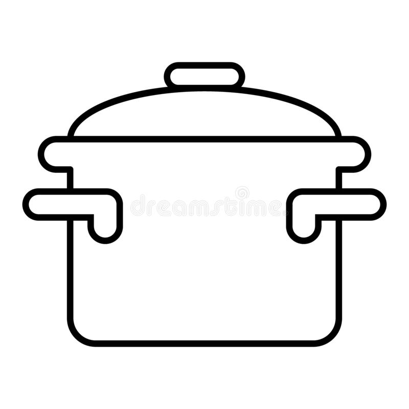 Casserole with handles thin line icon. Cooking pan vector illustration isolated on white. Pot outline style design vector illustration