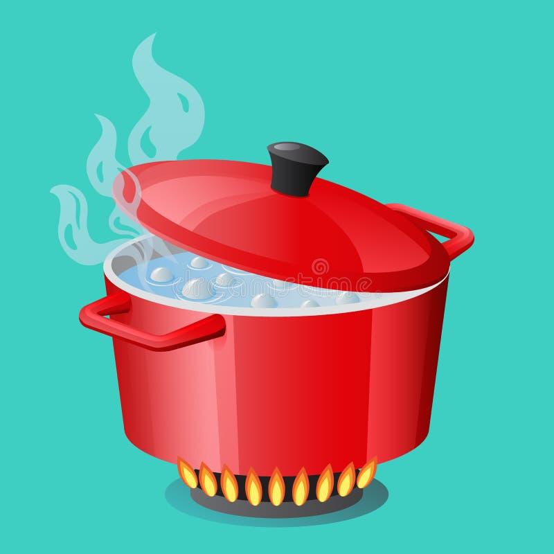 Casserole, casserole, pot, cocotte en terre, cuiseur, stewpan rouges avec l'eau bouillante et le vecteur fermé de couvercle de ca illustration libre de droits