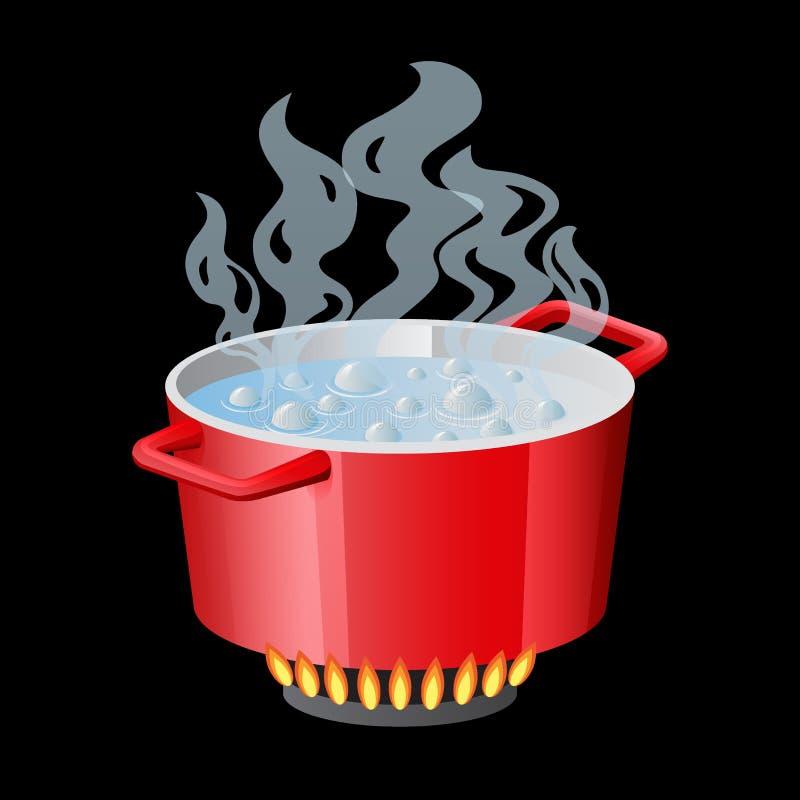 Casserole, casserole, pot, cocotte en terre, cuiseur, stewpan rouges avec l'eau bouillante et le vecteur ouvert de couvercle de c illustration de vecteur