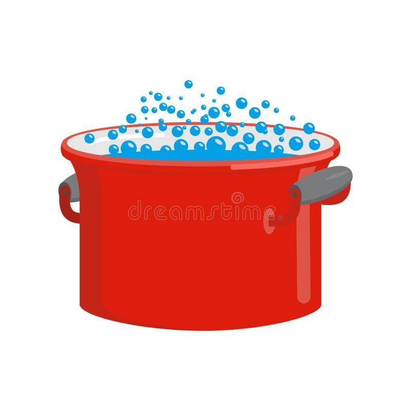 casserole rouge avec de l 39 eau d 39 isolement ustensiles de cuisine pour la cuisson illustration de. Black Bedroom Furniture Sets. Home Design Ideas