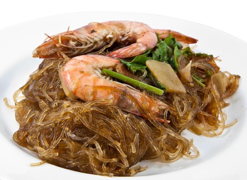 Casseroled prawns/shrimps with glass noodles. Thai food: Casseroled prawns/shrimps with glass noodles, This is one of the most popular seafood dishes in Thailand stock photos