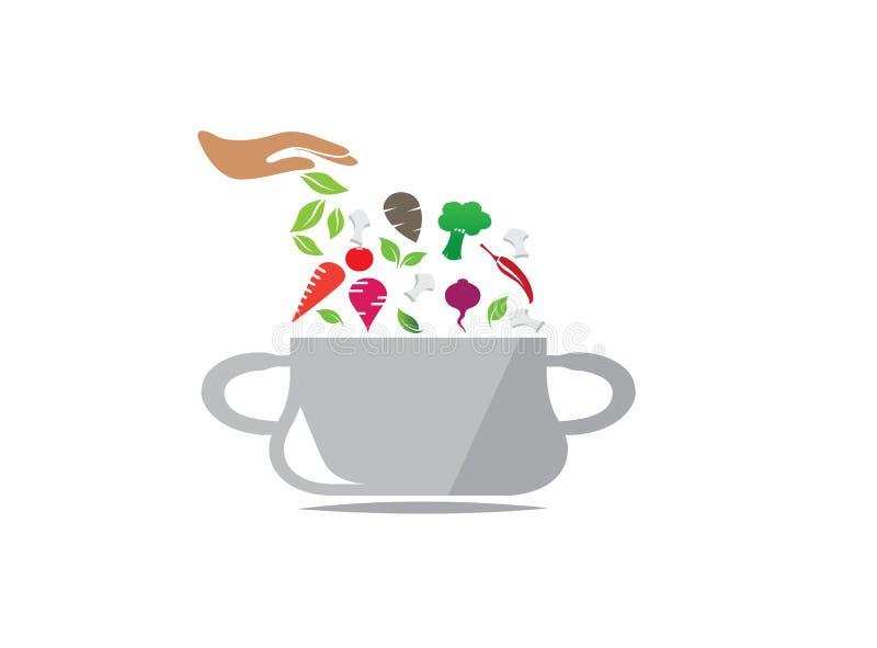 Casseruola con gli ingredienti alimentari che cucinano per la progettazione di logo, cucinando le verdure nell'illustratore dell' illustrazione vettoriale