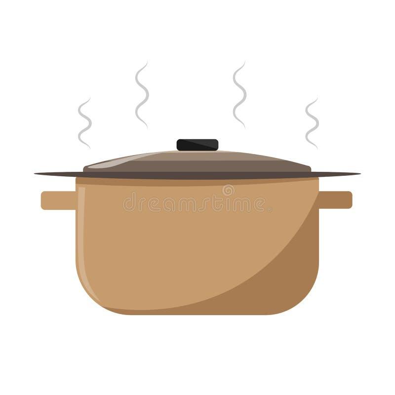 Casseruola del disegno di vettore con minestra calda fotografia stock libera da diritti