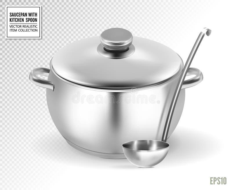 Casseruola e siviera da acciaio inossidabile su un fondo trasparente Vettore realistico, illustrazione 3d illustrazione vettoriale