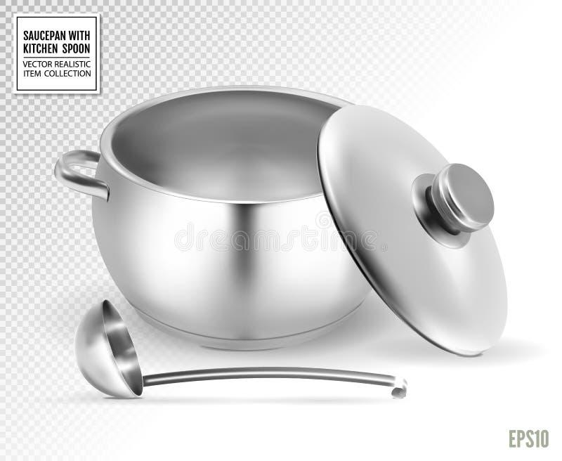 Casseruola e siviera da acciaio inossidabile su un fondo trasparente Vettore realistico, illustrazione 3d illustrazione di stock