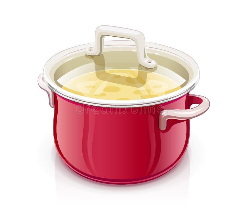 Casseruola rossa con il coperchio Stoviglie della cucina royalty illustrazione gratis
