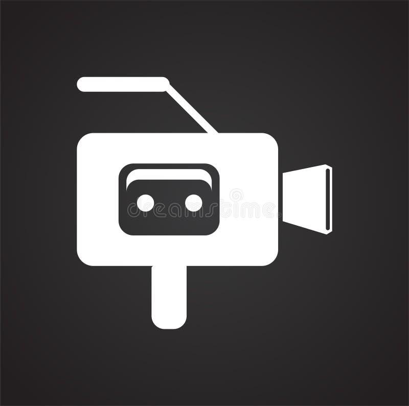 Cassete磁带vide在黑背景的照相机象图表和网络设计的,现代简单的传染媒介标志 背景蓝色颜色概念互联网 时髦 库存例证