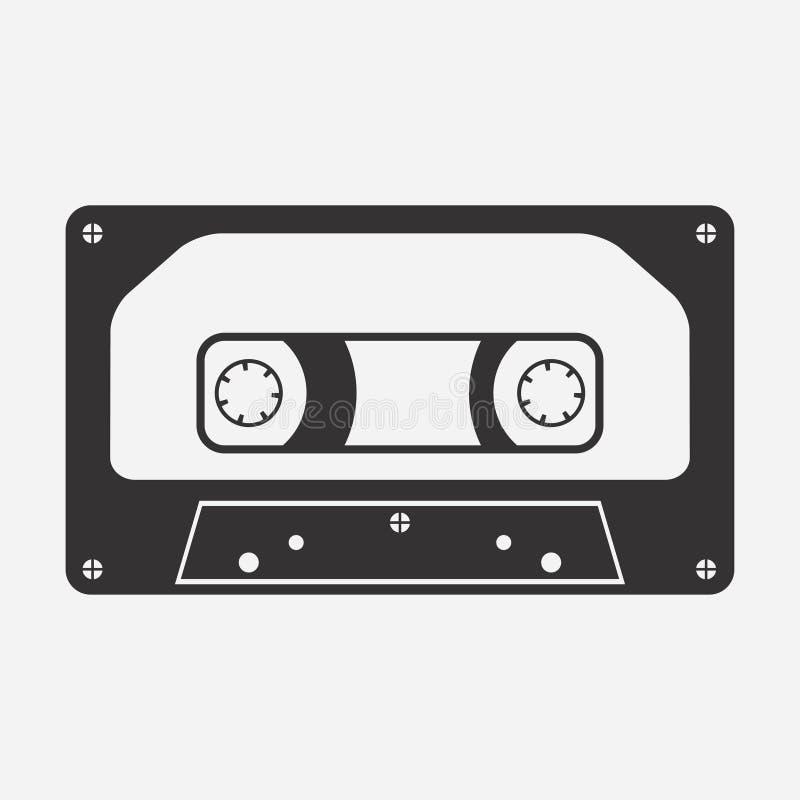 Cassete áudio Ícone da audiocassette Meios da música GRAVAÇÃO DE FITA Vetor ilustração royalty free