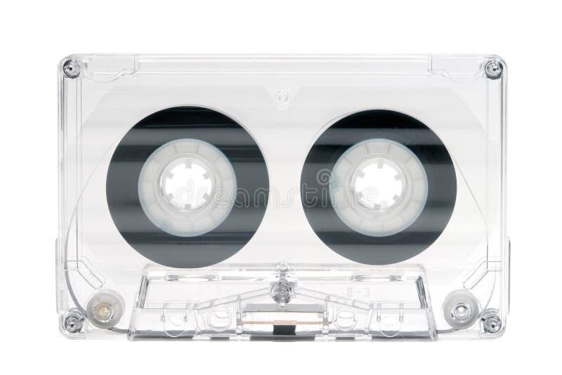 Cassete áudio de alta fidelidade transparente no branco imagem de stock royalty free