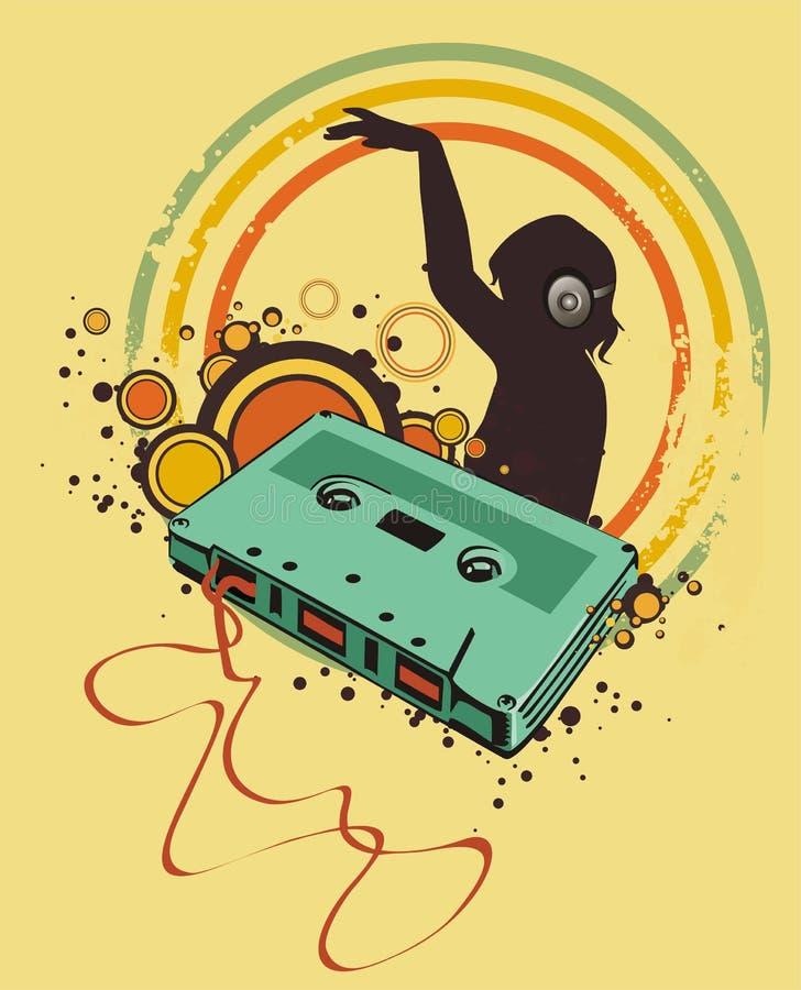 Cassete áudio retro ilustração royalty free