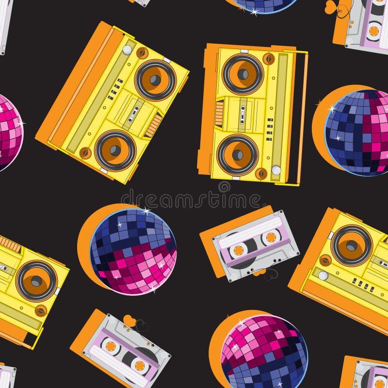 Cassete áudio sem emenda da bola do disco do gravador do teste padrão da música Imagem do vetor ilustração stock