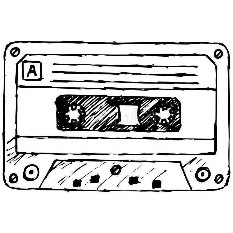 Cassete de banda magnética audio ilustração stock