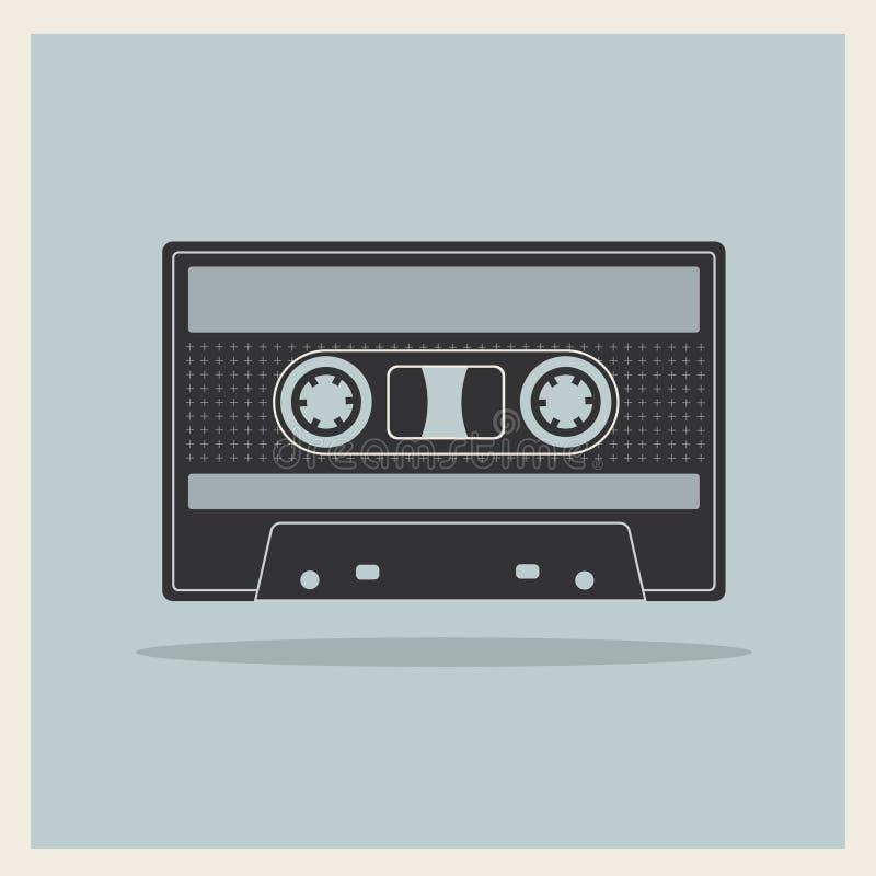 Cassete de banda magnética compacta audio no fundo retro ilustração stock