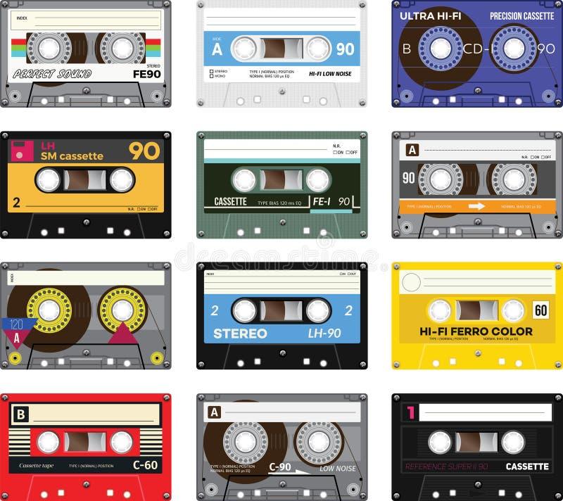 Cassete de banda magnética do vintage ilustração stock