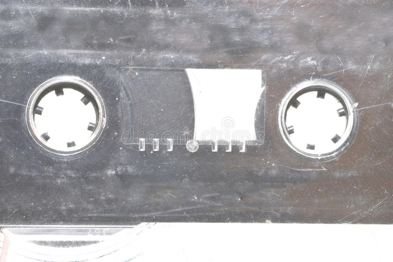 Cassete Tape. Macro shot of an old grungy cassette tape stock photos