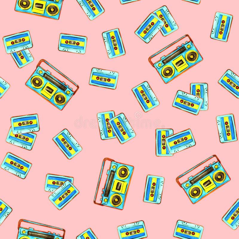 Cassetes áudio e boombox retro ilustração do vetor