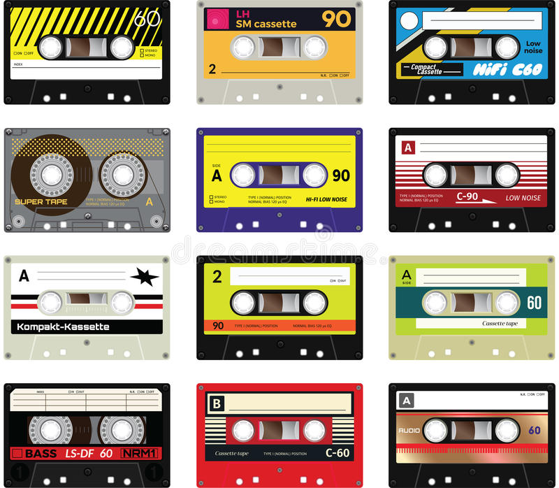 Cassetes de banda magnética vol do vintage 2 ilustração do vetor