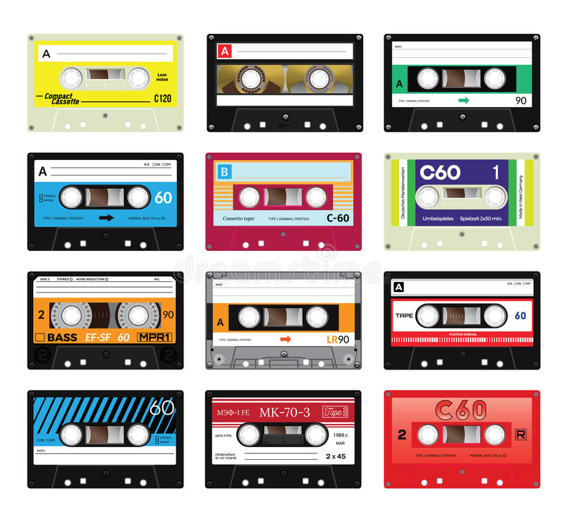 Cassetes de banda magnética vol do vintage 4 ilustração royalty free