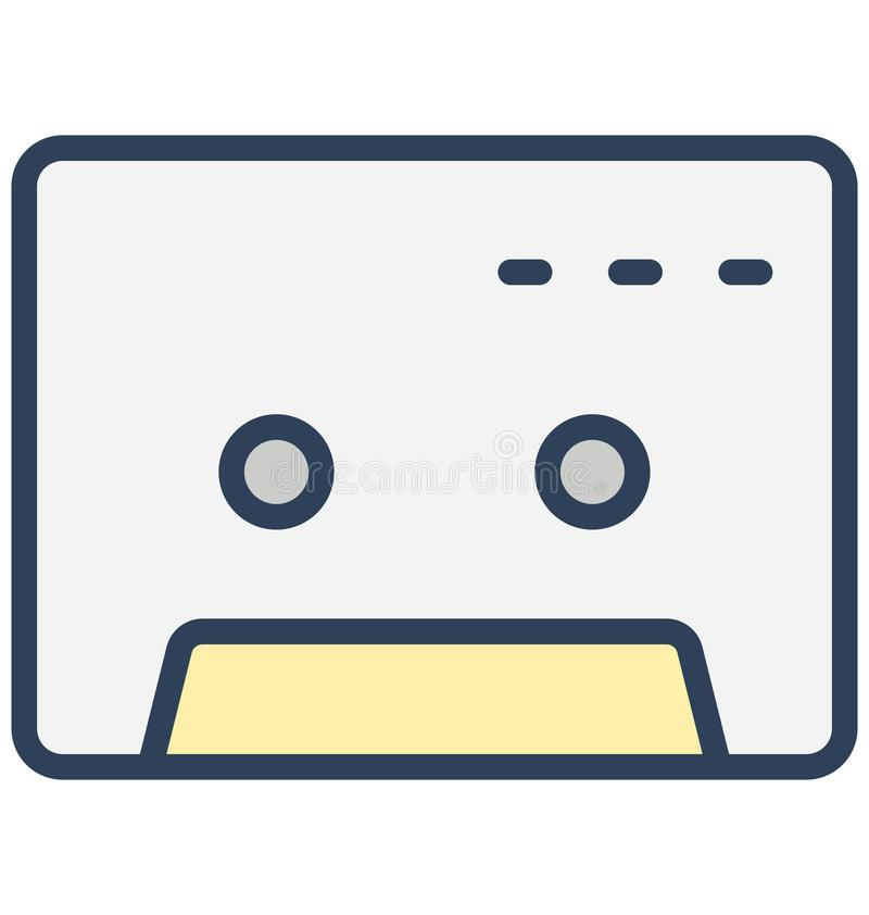 Cassetta audio, icona di vettore isolata cassetta che può essere pubblicata facilmente in tutta la dimensione o essere modificata illustrazione vettoriale