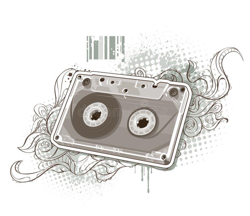Cassetta audio su priorità bassa bizzarra illustrazione di stock