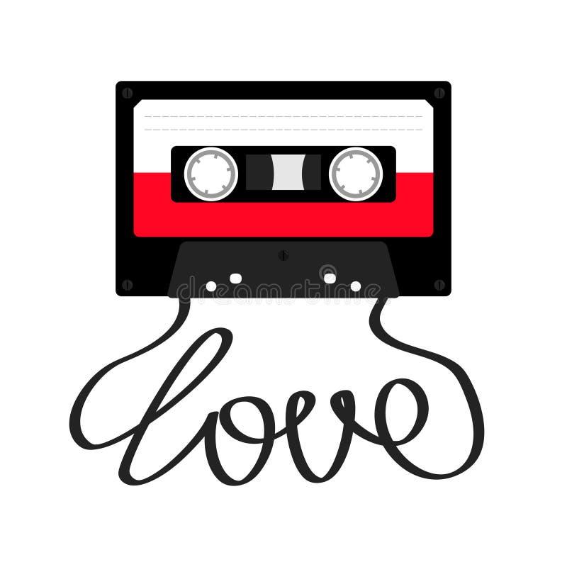 Cassetta di cassetta audio di plastica con amore di parola del nastro Retro icona di musica Elemento della registrazione anni di  illustrazione vettoriale