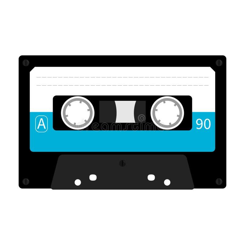 Cassetta di cassetta audio di plastica Retro icona di musica Elemento della registrazione anni di 80s 90s illustrazione di stock