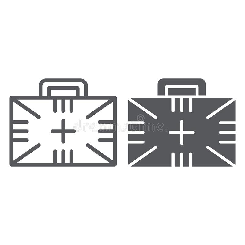 Cassetta di pronto soccorso e linea icona di glifo, scatola ed emergenza, segno medico di caso, grafica vettoriale, un modello li illustrazione vettoriale